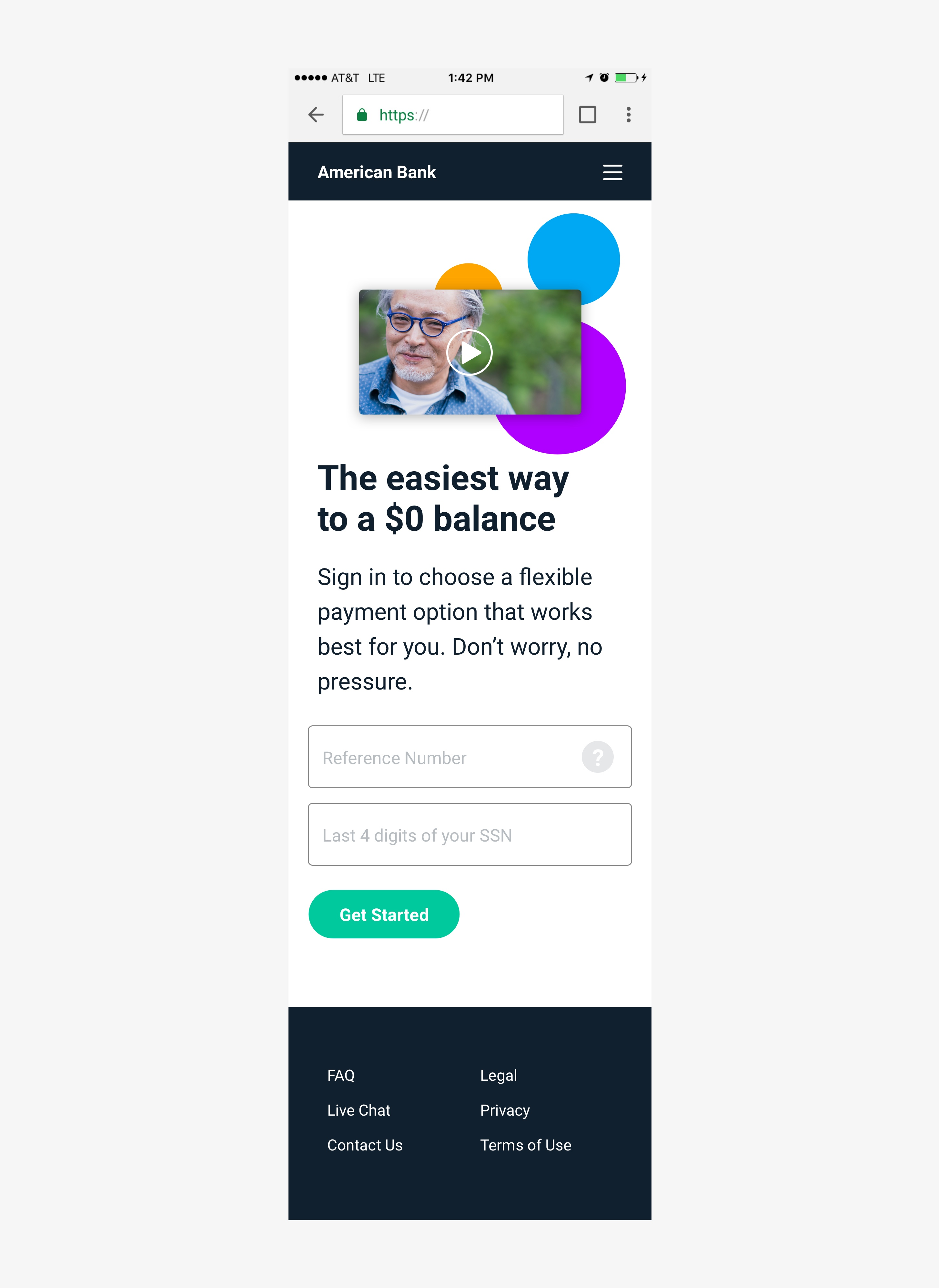 Landing page - Mobile